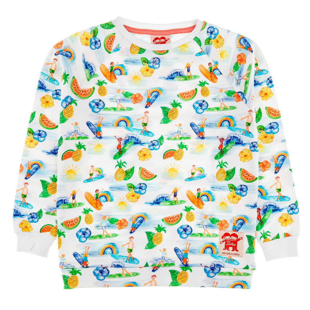 SUPERTUBES Organic Cotton Printed Sweatshirt/White (Hawaiian)