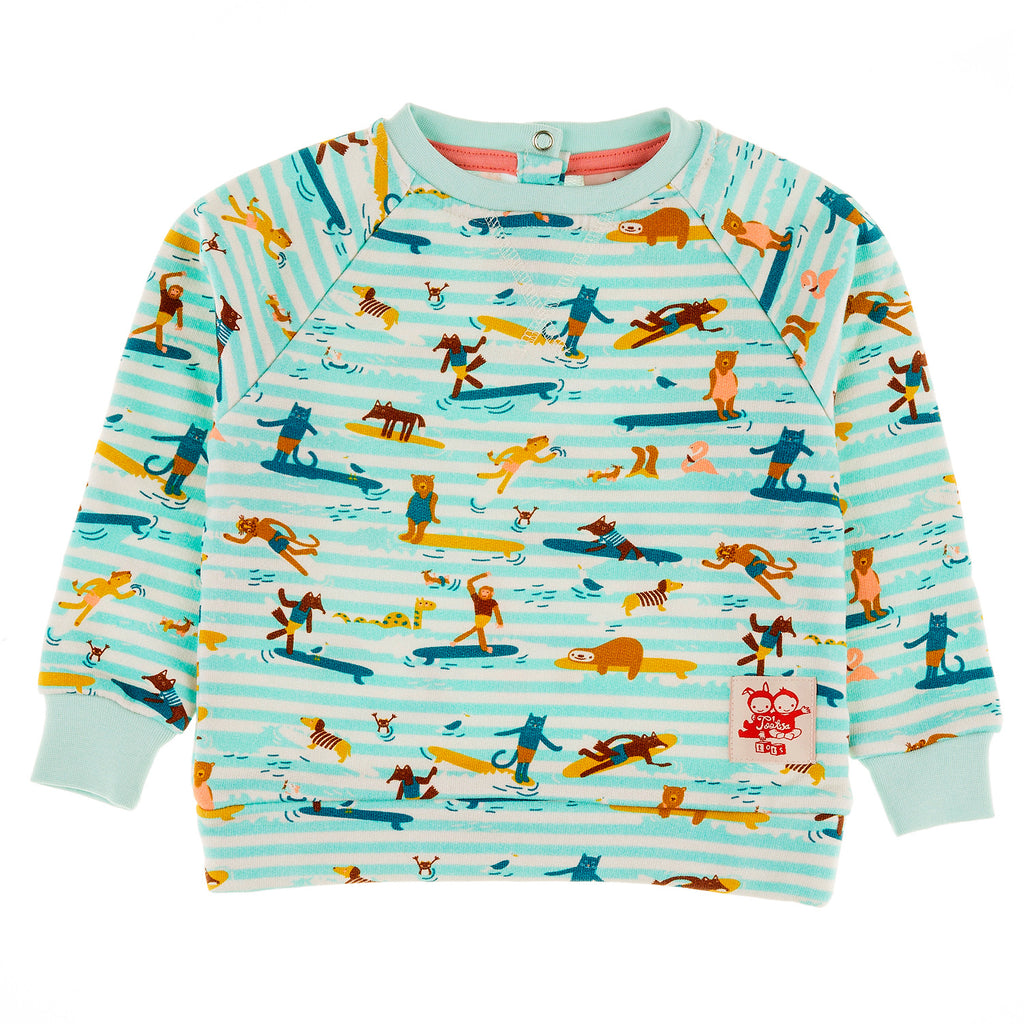 SUPERTUBES Tots Organic Cotton Printed Sweatshirt/Aruba Blue (Surfers Stripe)