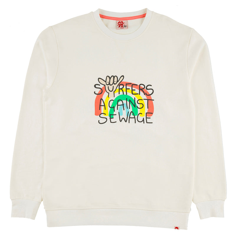 SURFERS AGAINST SEWAGE Adult Sized Organic Cotton Printed Sweatshirt/Whisper
