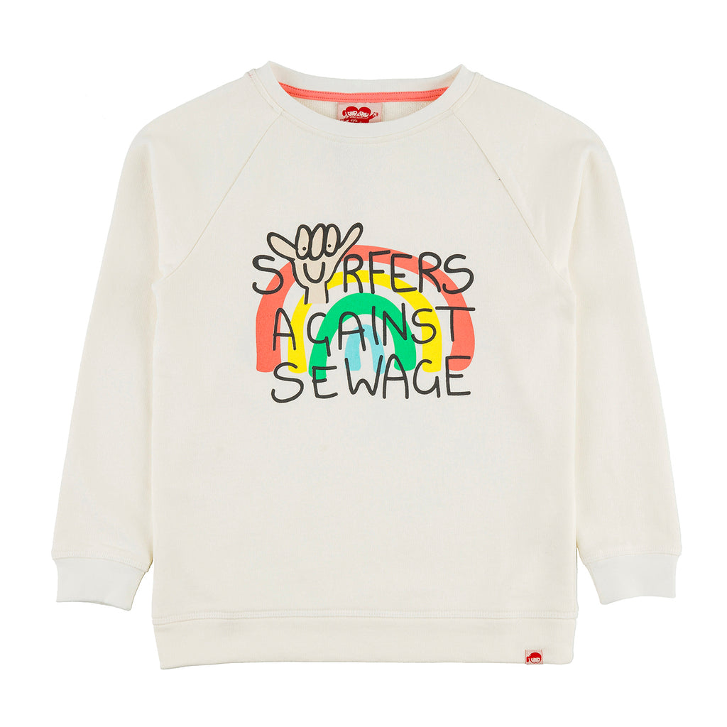 SURFERS AGAINST SEWAGE Tots Organic Cotton Printed Sweatshirt/Whisper