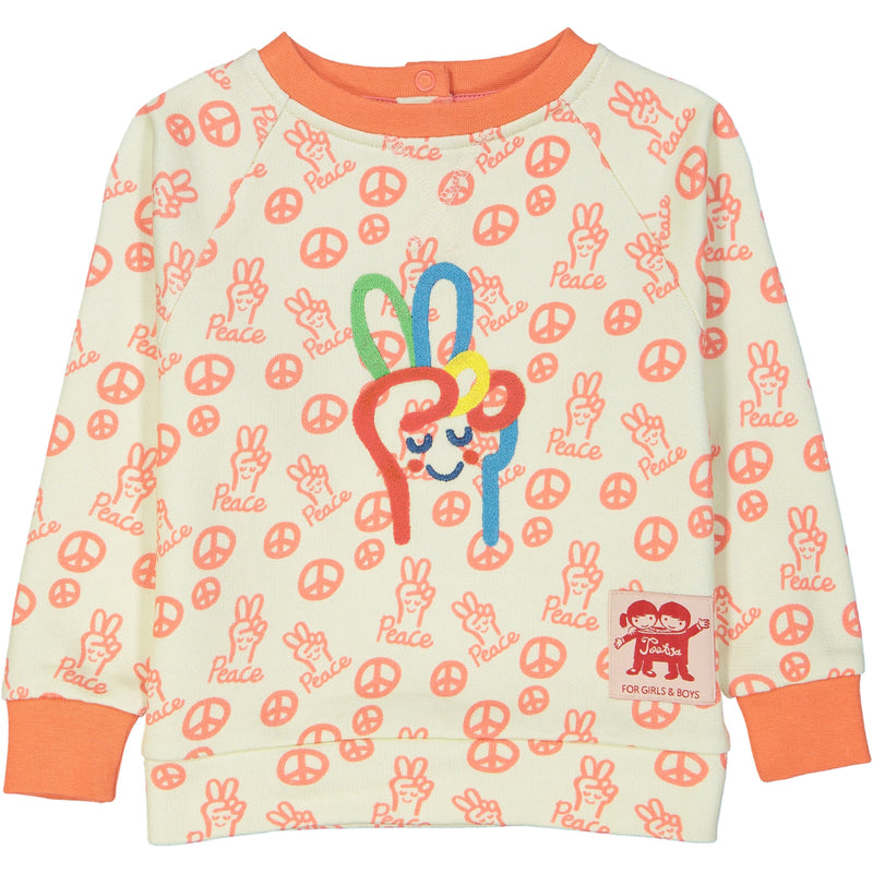 TEMAKI All over printed and embroidered Tootsa Tots sweatshirt/Coral