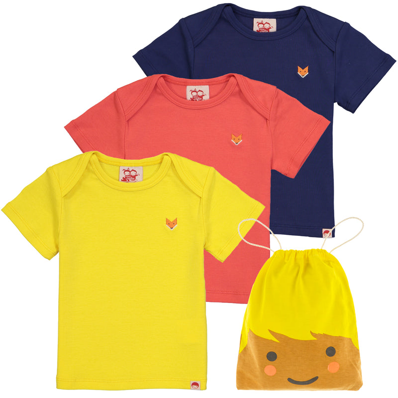 ESSENTIAL Baby Unisex Organic Cotton T-shirts (Pack of 3)/Sun, Bright Red, Navy