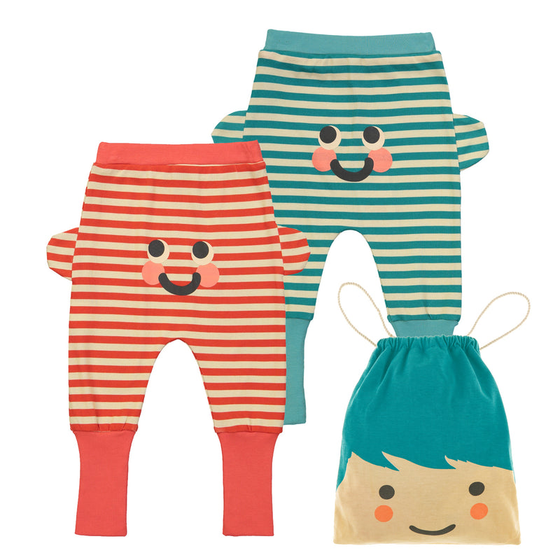 ESSENTIAL Baby Unisex Organic Cotton Trousers (Pack of 2)/Bright Red, Teal