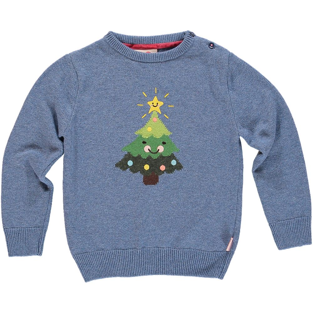 Tootsa MacGinty Xmas Tree Jumper / Denim Blue