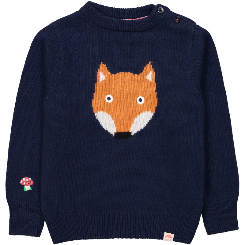 TOOTSA CLASSIC FOX Jacquard Knit Jumper/Deep Blue
