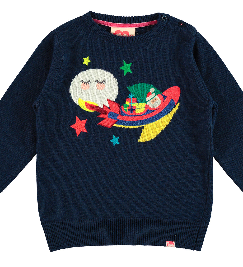 TOOTSA FOR CONRAN Christmas Jumper / Dark Blue (Santa Rocket)