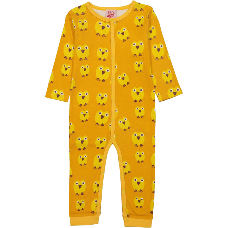 SASKATOON All over printed Tootsa Tots romper/Mustard (Owls)