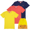 ESSENTIAL Organic Cotton T-shirts (Pack of 3)/Sun, Bright Red, Navy