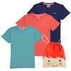 ESSENTIAL Organic Cotton T-shirts (Pack of 3)/Navy, Bright Red, Teal