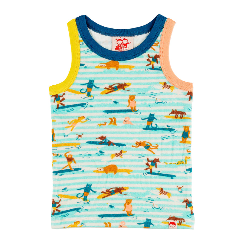 TRESTLES Organic Cotton Printed Vest Top/Aruba Blue (Surfers Stripe)