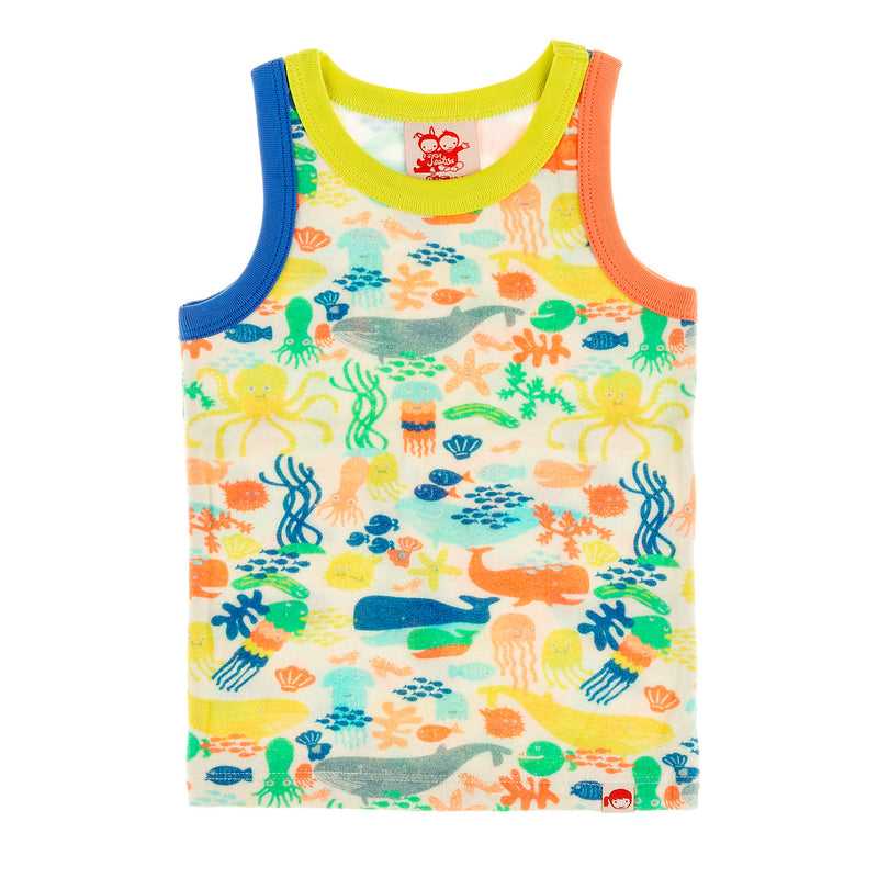 TRESTLES Tots Organic Cotton Printed Vest Top/Multicoloured (Under The Sea)