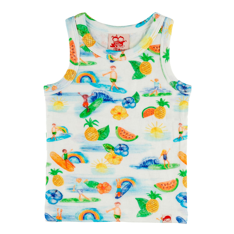 TRESTLES Tots Organic Cotton Printed Vest Top/White (Hawaiian)