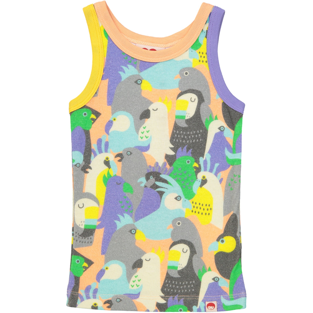 VITORIA all over printed vest top/Coral (Birds of a Feather)