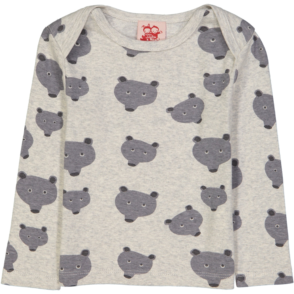 WHISTLER All over printed LS Tootsa Tots T-shirt/Light Heather Grey (Bears)