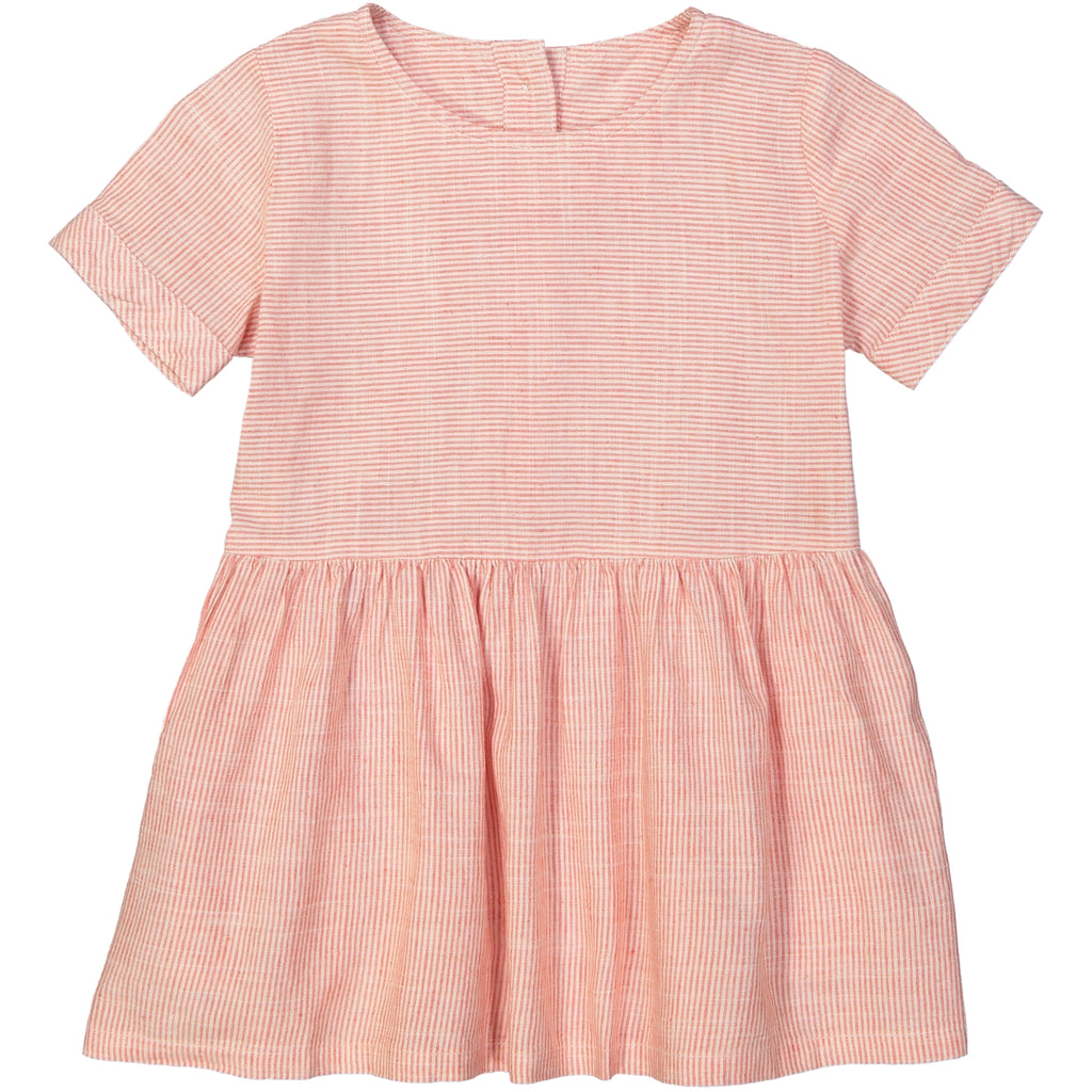 YOKOHAMA Tots Linen & Cotton Smock Dress/Coral