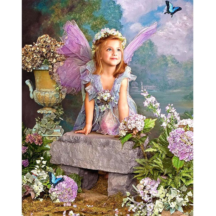 Diamond Painting - Partial Round - Angle Girl In Flowers