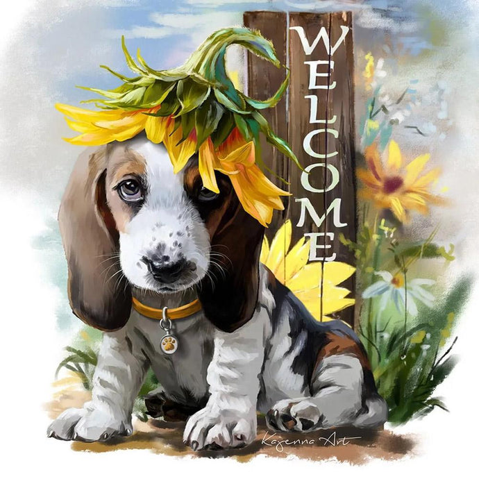Diamond Painting - Partial Round - Dog with Sunflower