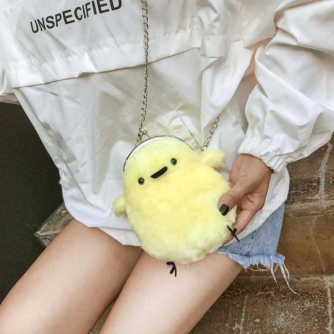 Cartoon Plush Chicken Women Girl Shoulder Bags Chain Messenger Bag
