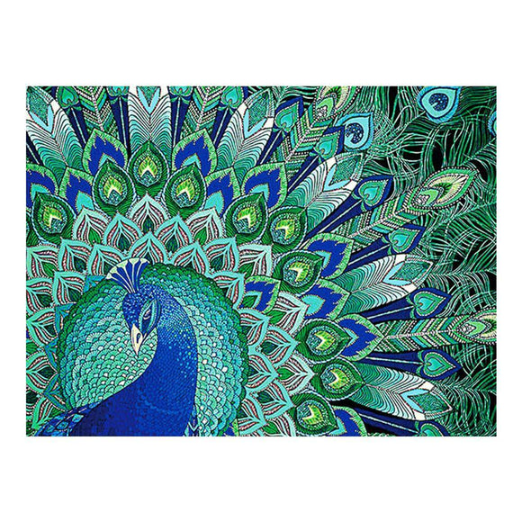Diamond Painting - Crystal Rhinestone - Green Peacock