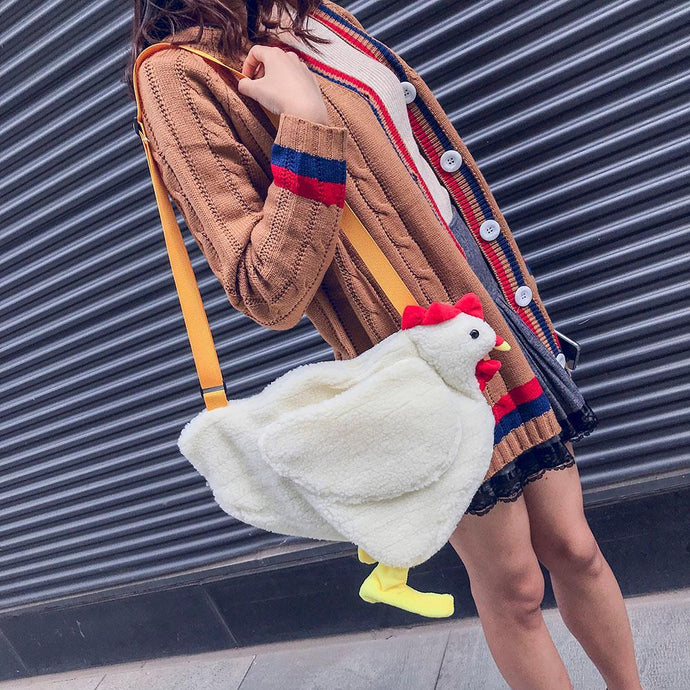 Fashion Women Crossbody Bag Cartoon Chicken Pattern Casual Shoulder Bags