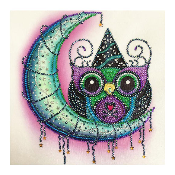 Diamond Painting - Crystal Rhinestone - Owl Moon