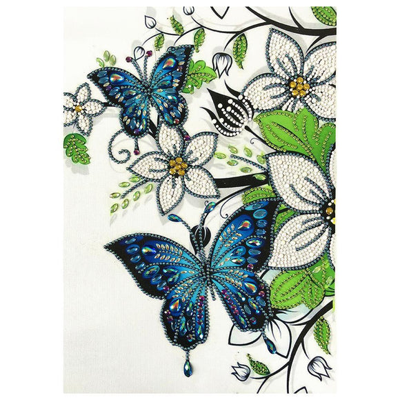 Diamond Painting - Crystal Rhinestone - Butterfly Flower