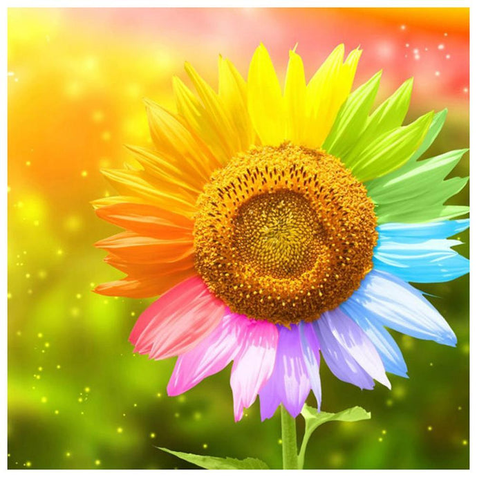 Diamond Painting - Partial Round - Colorful Sunflower