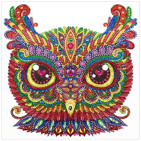 Diamond Painting - Crystal Rhinestone - Owl Face