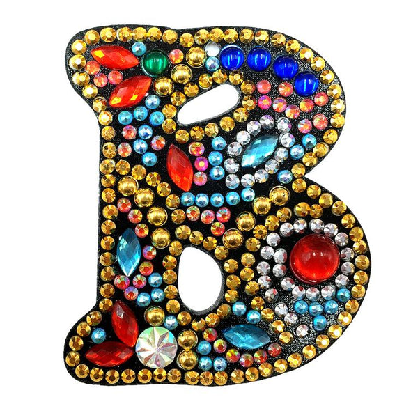 1 Pc DIY Diamond Painting Keychain - Letter B