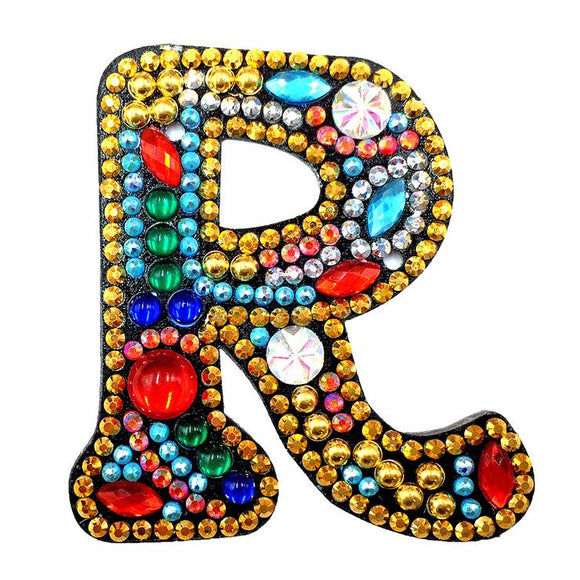 1 Pc DIY Diamond Painting Keychain - Letter R
