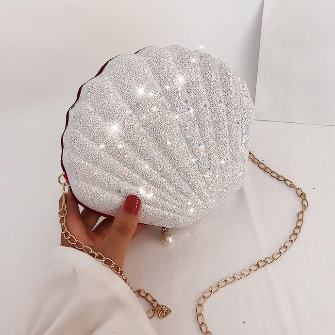 Cute Sequins Shoulder Messenger Handbags Women Chain Shell Crossbody Bags