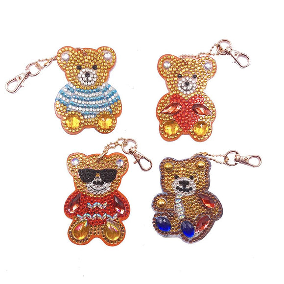 4pcs DIY Full Drill Special Shaped Diamond Painting Bear Keychain