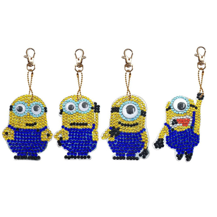 4pcs DIY Diamond Painting Key Chain Full Drill Keyring Women Bag Pendant
