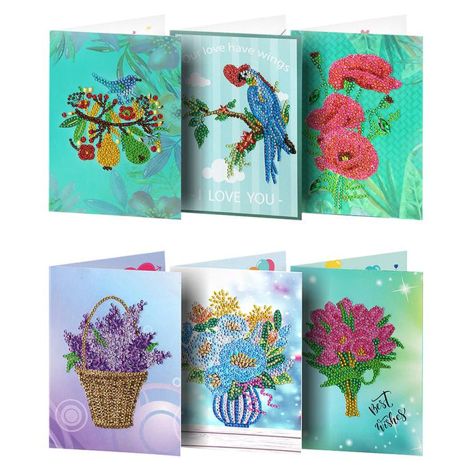6pcs DIY Special-shaped Diamond Painting Birthday Greeting Cards