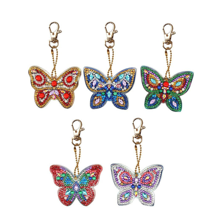 5pcs DIY Full Drill Diamond Painting Special Shaped Butterfly Keychain Gift