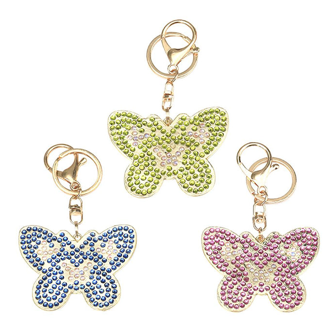 3pcs DIY Metal Full Special Shape Drill Diamond Painting Butterfly Keychain