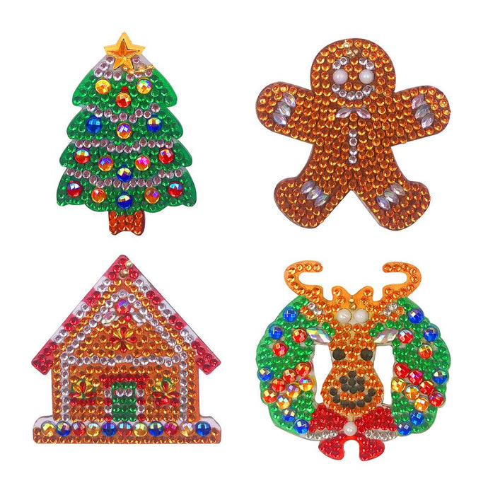 4pcs DIY Full Drill Special Shaped Diamond Painting Xmas Tree Elk Key Chain