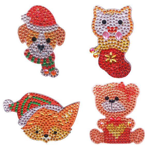 4pcs DIY Full Drill Special Shaped Diamond Painting Xmas Animal Key Rings