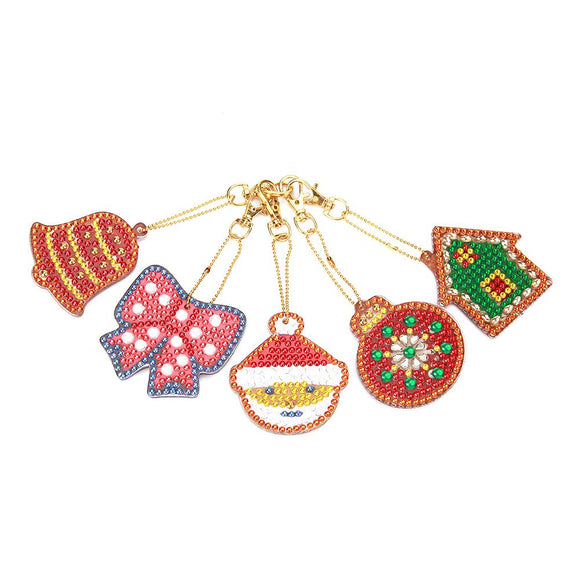 5pcs DIY Full Drill Special Shaped Diamond Painting Christmas Keyring Decor