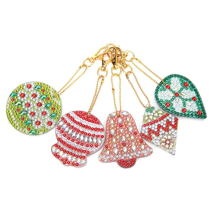 5pcs DIY Full Drill Special Shaped Diamond Painting Christmas Bell Keyrings