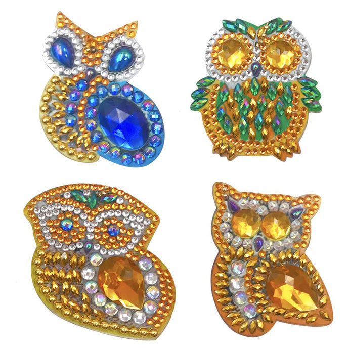 4pcs DIY Full Drills Diamond Painting Special Shape Owl Pendants Key Chains