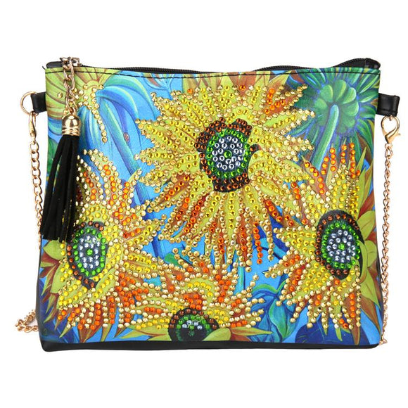 DIY Sunflower Diamond Painting Leather Chain Shoulder Bags