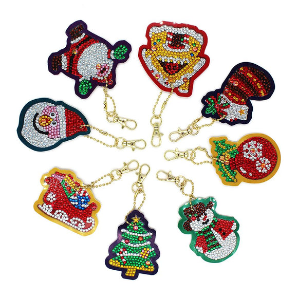 8pcs DIY Full Special Drill Diamond Painting Xmas Theme Key Chain Girl Gift
