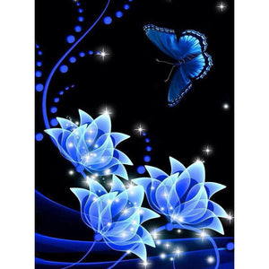 Diamond Painting - Full Round - Blue Flower Butterfly