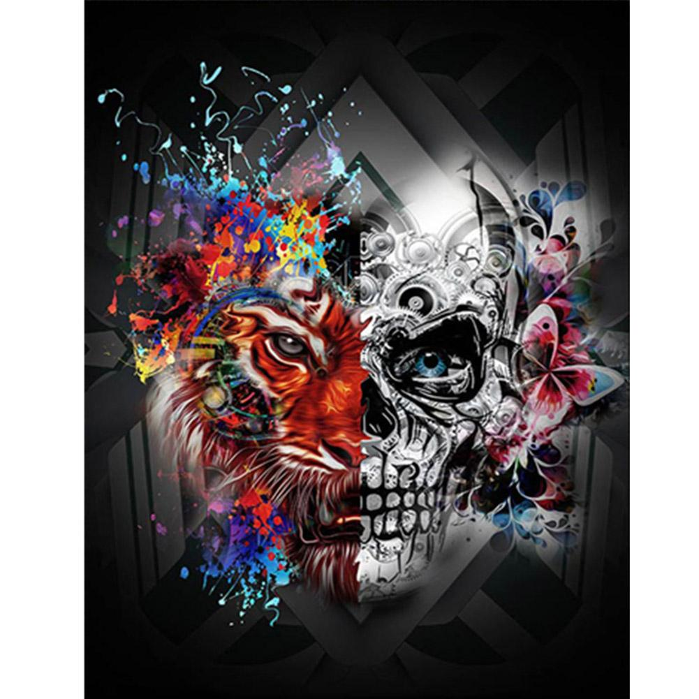 Diamond Painting - Full Round - Skull Tiger