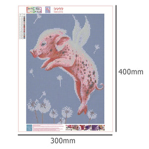 Diamond Painting - Full Round - Jumping Pig