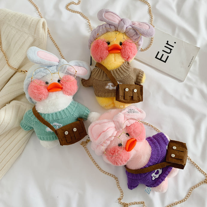 Cute Plush Crossbody Handbags Women Lovely Duck Doll Purse Shoulder Bags