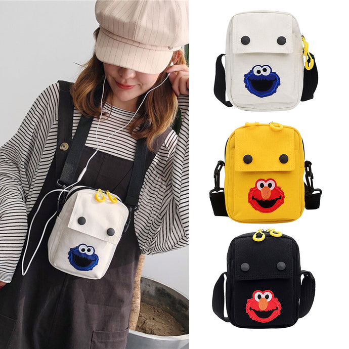 Cute Cartoon Crossbody Handbags Women Canvas Small Shoulder Messenger Bags