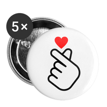 Load image into Gallery viewer, Fingerheart Buttons 1'' (5-pack) - white