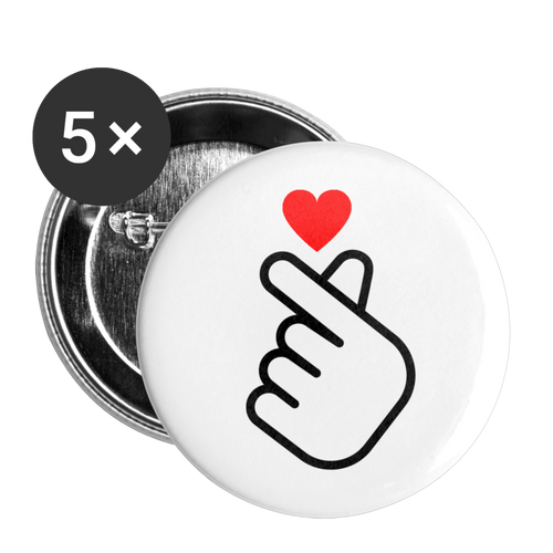 Fingerheart Buttons 1'' (5-pack) - white